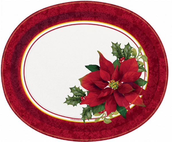Holly Poinsettia Oval Paper Plates (8)